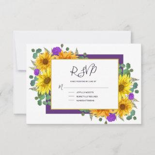 Rustic Sunflower Purple Roses Country Wedding RSVP Card