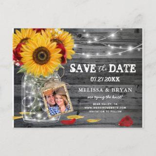 Rustic Sunflower Rose Wedding Photo Save the Date Announcement Postcard