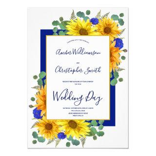 Rustic Sunflower Royal Blue Roses Country Wedding Invitations