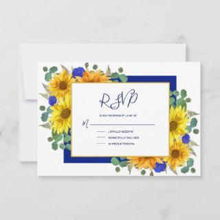 Rustic Sunflower Royal Blue Roses Country Wedding RSVP Card