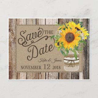 Rustic Sunflower Save the Date Announcement Postcard