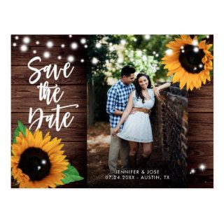 Rustic Sunflower Save The Date Photo Postcards