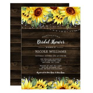 Rustic Sunflower String Lights Bridal Shower Invitation