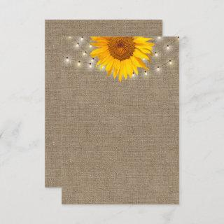 Rustic Sunflower & String Lights Burlap Background Invitations