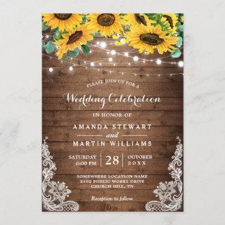 Rustic Sunflower String Lights Fall Autumn Wedding Invitations