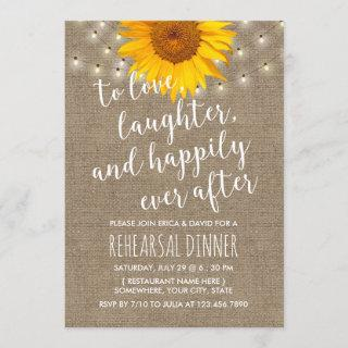 Rustic Sunflower String Lights Rehearsal Dinner Invitation