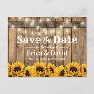 Rustic Sunflower & String Lights Save the Date Announcement Postcard