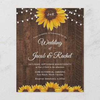 Rustic Sunflower String Lights Wedding Invitations