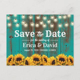 Rustic Sunflower Teal Barn Wood Save the Date Announcement Postcard