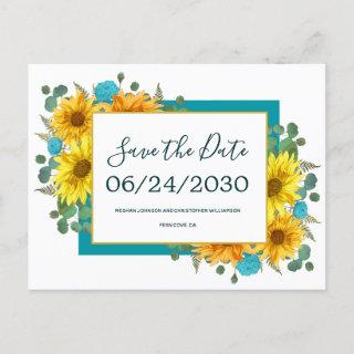 Rustic Sunflower Teal Roses Wedding Save the Date Announcement Postcard