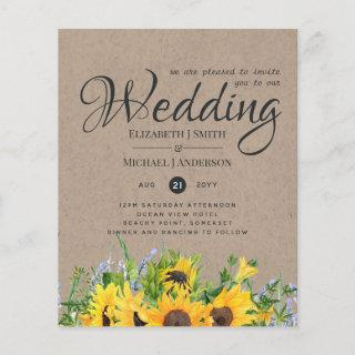 Rustic Sunflower Themed Wedding Stationery Budget