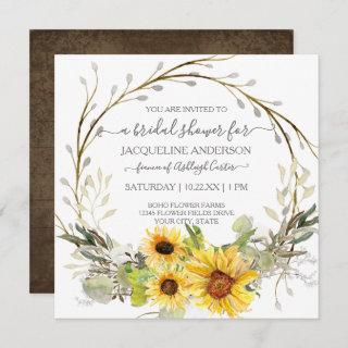 Rustic Sunflower Watercolor Floral Bridal Shower Invitations
