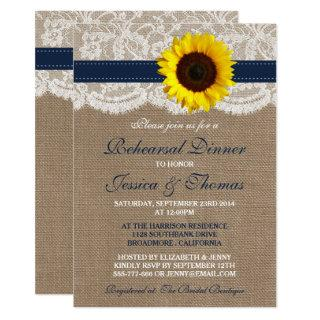 Rustic Sunflower Wedding Rehearsal Dinner - Navy Invitation