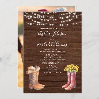Rustic Sunflower Western Typography Photo Wedding Invitations