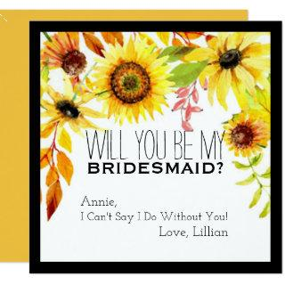 Rustic Sunflower Will You Be My Bridesmaid Fall Invitation