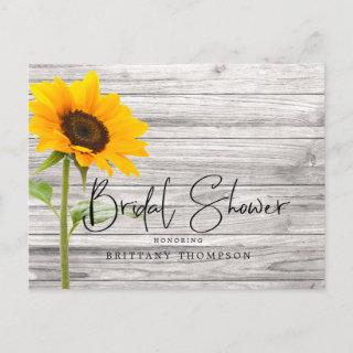 Rustic Sunflower Wood Bridal Shower Invitation Postcard