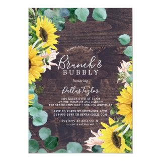 Rustic Sunflower | Wood Brunch & Bubbly Shower Invitations