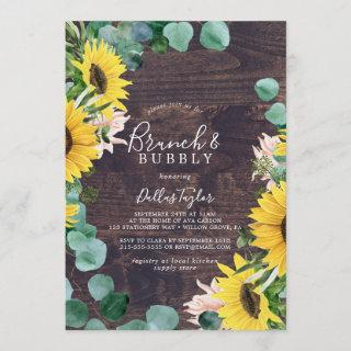 Rustic Sunflower | Wood Brunch & Bubbly Shower Invitation