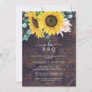 Rustic Sunflower | Wood I Do BBQ Engagement Party Invitations