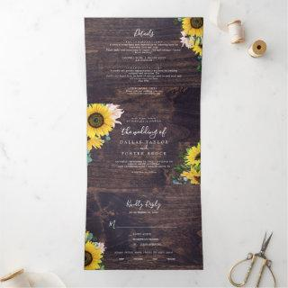 Rustic Sunflower | Wood Photo Wedding All In One Tri-Fold Invitation