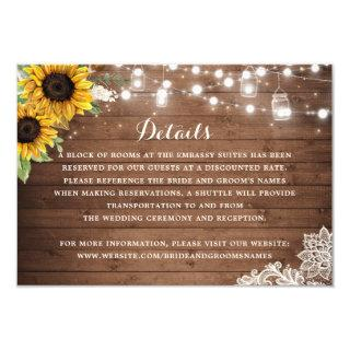 Rustic Sunflower Wood String Lights Details Insert Invitations