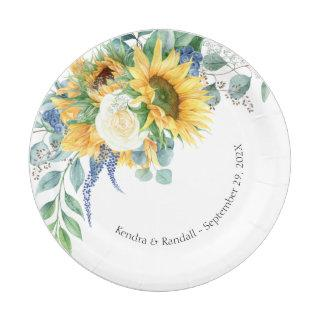Rustic Sunflowers and Roses Floral Wedding Paper Plate