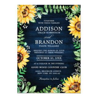 Rustic Sunflowers Baby's Breath Navy Blue Wedding Invitations