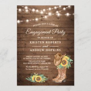 Rustic Sunflowers Boots Lights Engagement Party