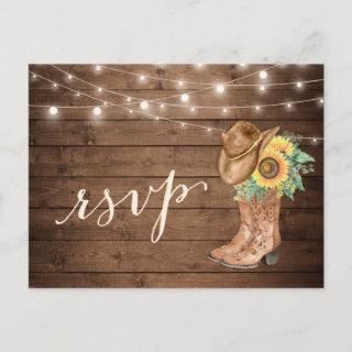 Rustic Sunflowers Boots String Lights RSVP Invitations Postcard