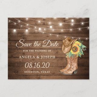 Rustic Sunflowers Boots Western Save the Date Announcement Postcard