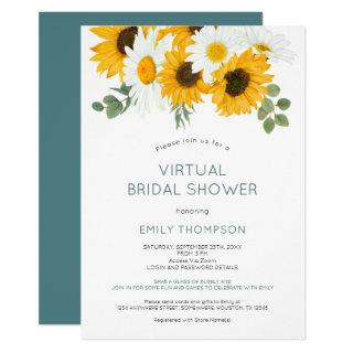 Rustic Sunflowers Florals Virtual Bridal Shower Invitations