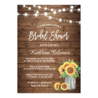 Rustic Sunflowers Mason Jar Lights Bridal Shower Invitations