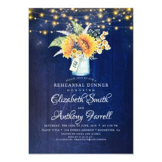 Rustic Sunflowers Navy Blue Rehearsal Dinner Invitations