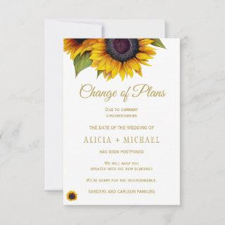 Rustic sunflowers PHOTO wedding change of plans Save The Date