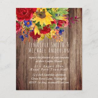 Rustic Sunflowers Red Roses Bridal Couples Shower