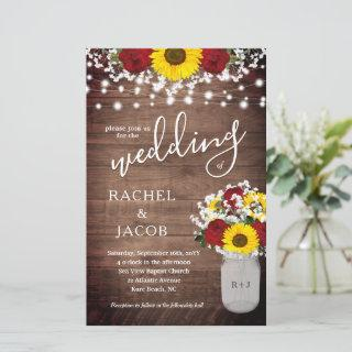Rustic Sunflowers Roses Jar Lights Budget Wedding