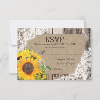 Rustic Sunflowers RSVP Card