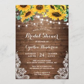 Rustic Sunflowers String Lights Lace Bridal Shower Invitations