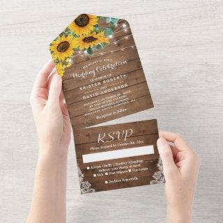 Rustic Sunflowers String Lights Lace Wedding All In One