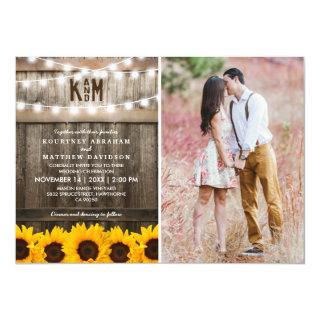 Rustic Sunflowers String Lights Photo Wedding Invitations