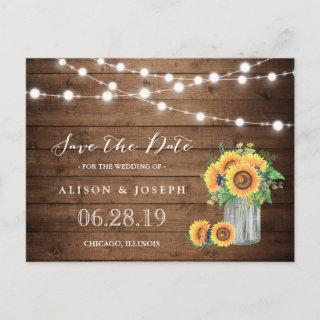 Rustic Sunflowers String Lights Save the Date Announcement Postcard