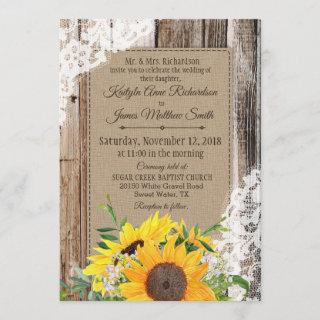 Rustic Sunflowers Wedding Invitation