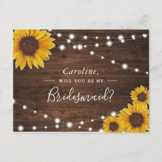 Rustic Sunflowers Will You Be My Bridesmaid Invitation Postcard