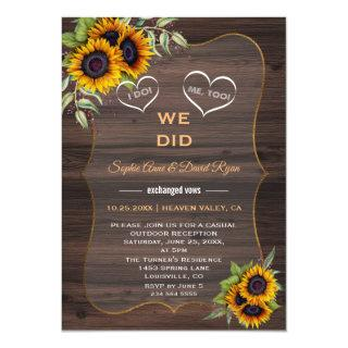 Rustic Sunflowers Wood Elopement Reception Invitations