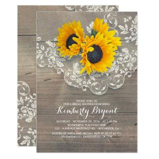 Rustic Sunflowers Wood Lace Bridal Shower Invitations
