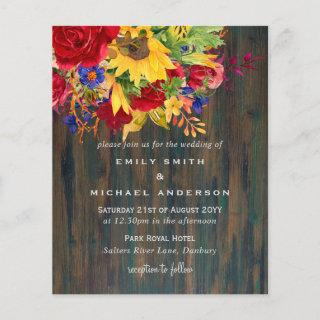 Rustic Sunflowers Yellow Red Blue Floral Wedding