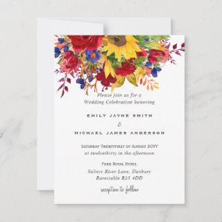 Rustic Sunflowers Yellow Red Blue Floral Wedding Holiday Card