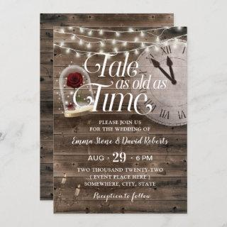 Rustic Tale as Old as Time Fairytale Wedding Invitation