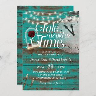 Rustic Tale as Old as Time Teal Fairytale Wedding Invitations