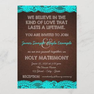 Rustic Teal and Brown Wedding Invitation